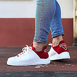 😜Кросівки - Чоловічі кросівки белын з червоним задником, фото 6