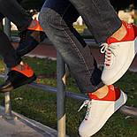😜Кросівки - Чоловічі кросівки белын з червоним задником, фото 5