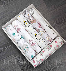 Набор детских пеленок байка, хлопок, муслин (6 шт) для девочки / для мальчика / универсальные - 100 х 80 см, фото 3