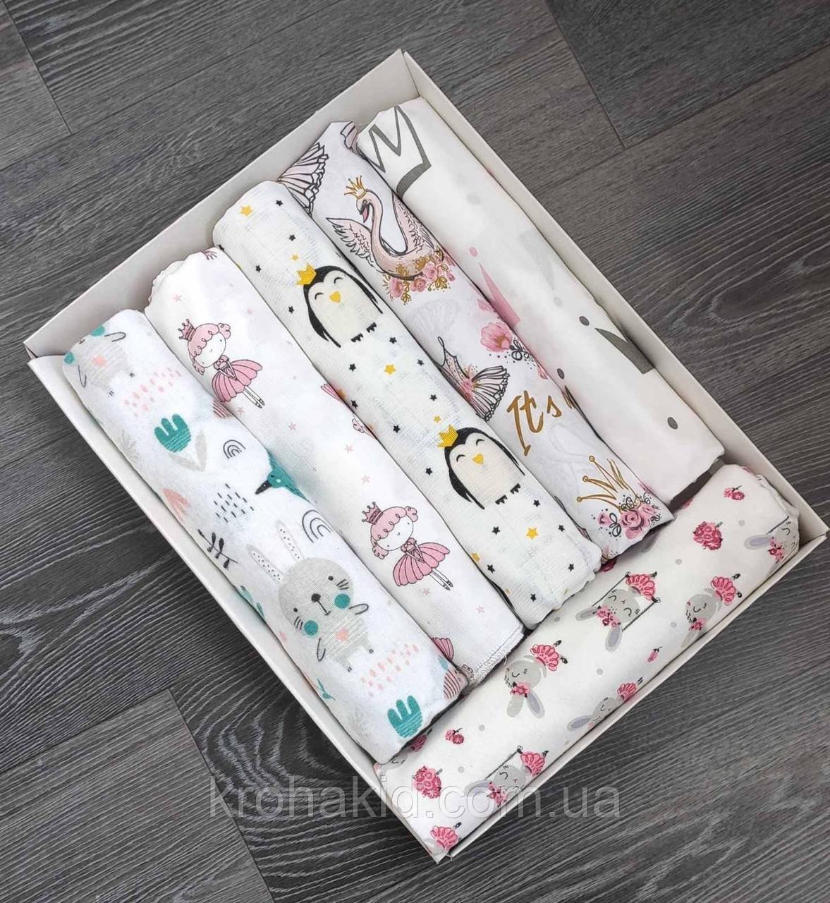 Набор детских пеленок байка, хлопок, муслин (6 шт) для девочки / для мальчика / универсальные - 100 х 80 см