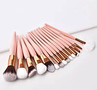 Набор кистей для макияжа 15 шт Flamingo