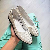 Симпатичные летние балетки туфли женские с перфорацией кожаные белые, женская обувь весна лето размеры 33-42