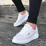 😜Кросівки - Чоловічі білі кросівки на товстій підошві, фото 2