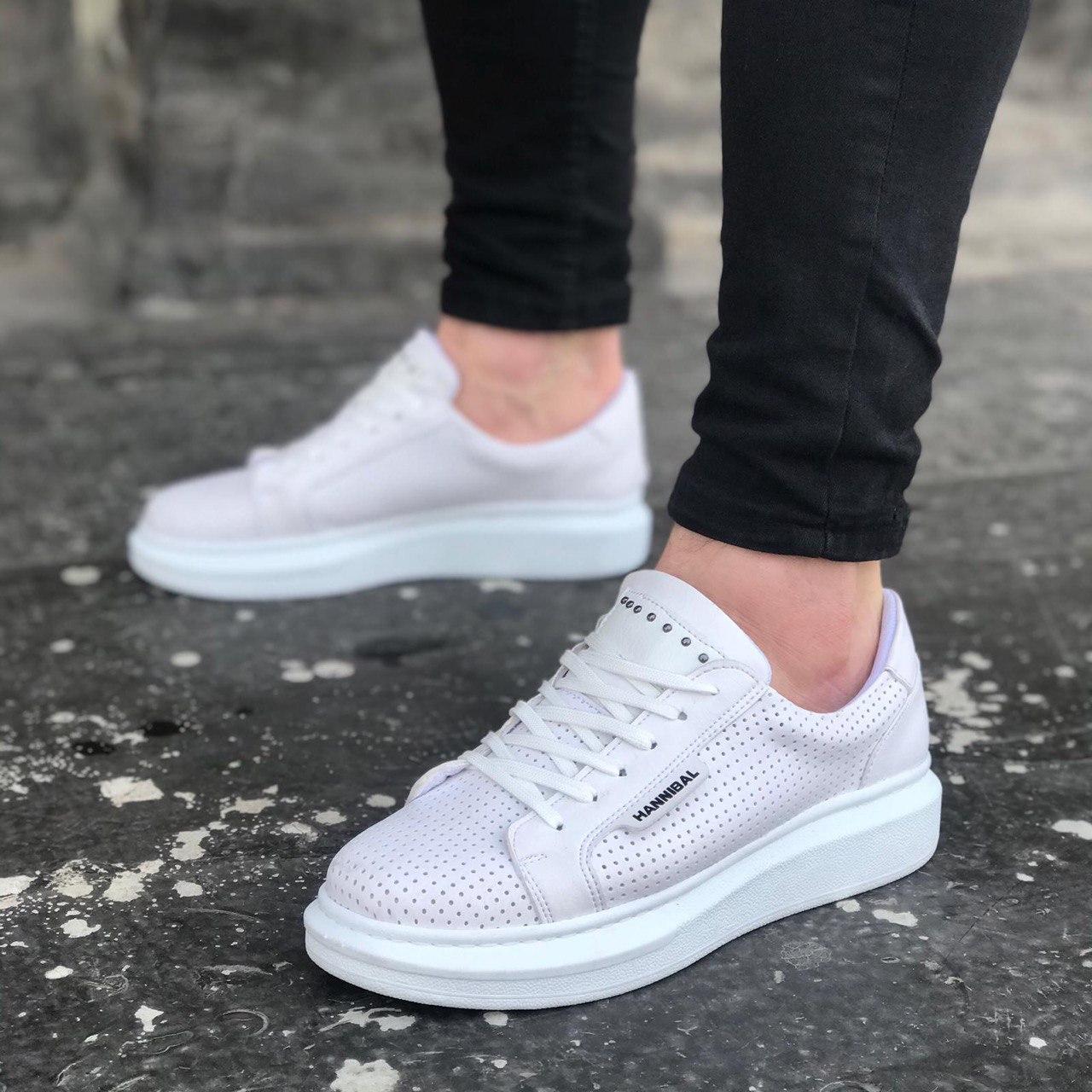 😜Кросівки - Чоловічі білі кросівки на товстій підошві