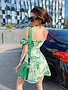Коттоновое летнее платье с открытыми плечами и завышенной талией на шнуровке спереди 71py1078, фото 2
