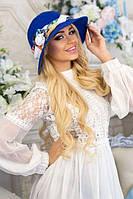 Шляпа женская летняя «Марсель роза» (синий)
