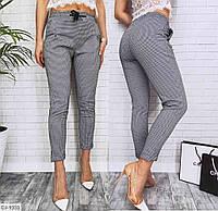Женские стильные брюки в клетку  с завышенной талией, фото 1