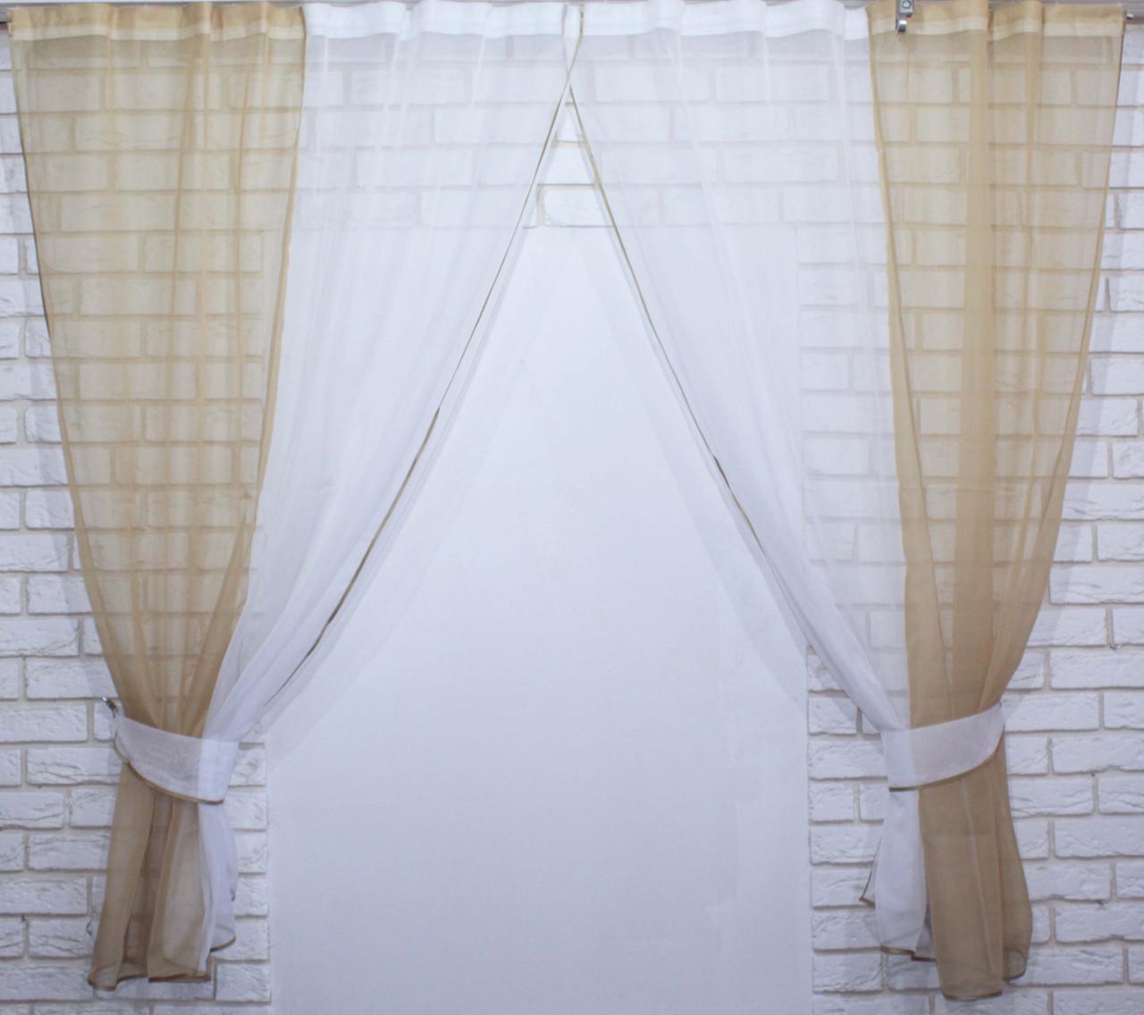 Комплект кухонные шторки с подвязками №17 Цвет кофейный 50-019