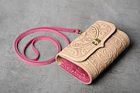 Бежево-розовая кожаная сумочка трансформер, сумочка-клатч на плечо/на пояс, фото 1