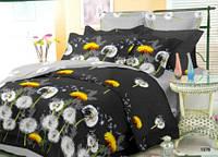 Стильное постельное белье (семейный комплект) 9847 «Одуванчики» черный