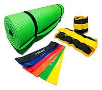 Набор для фитнеса 3в1 Коврик + Утяжелители + Набор лент сопротивления