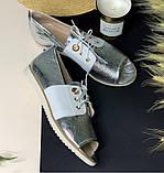 Босоножки женские закрытые кожаные на шнурках и плоском ходу, фото 2