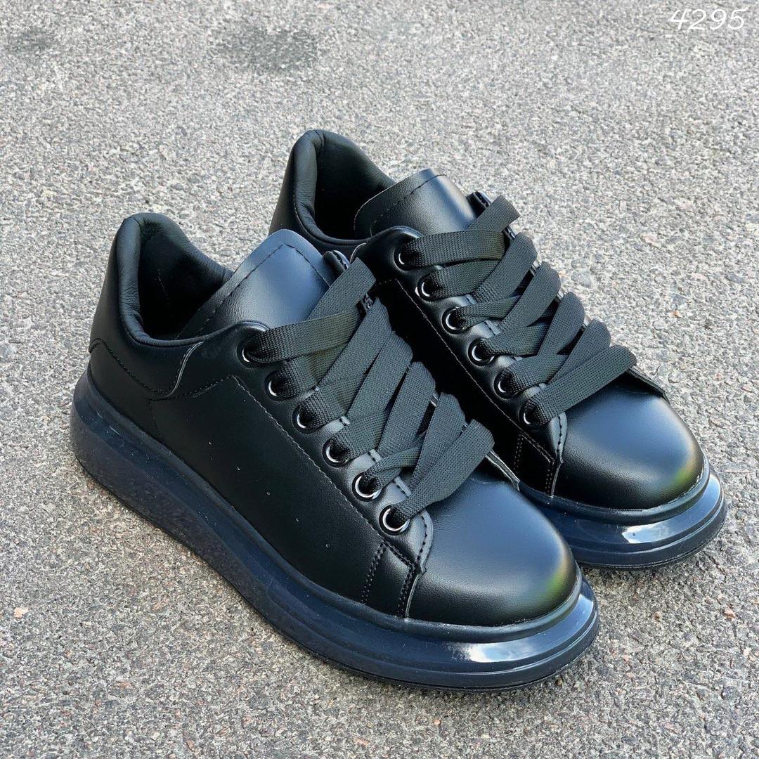 Черные женские кроссовки из экокожи на шнуровке 4295