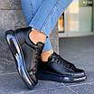 Черные женские кроссовки из экокожи на шнуровке 4295, фото 2