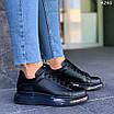 Черные женские кроссовки из экокожи на шнуровке 4295, фото 3
