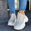 Женские бежевые кроссовки с вставками замши и сетки 4302, фото 2