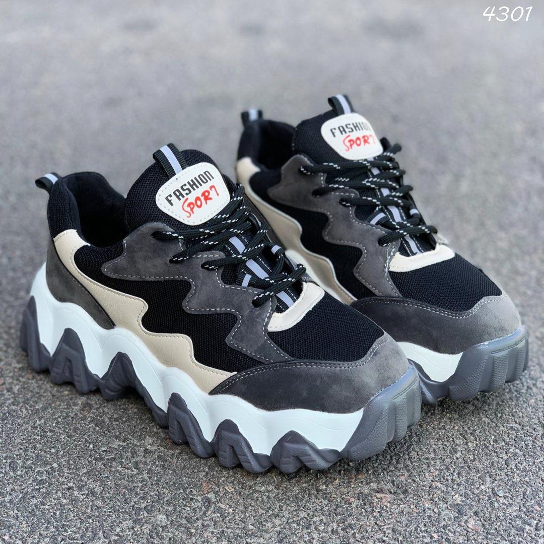 Женские черные кроссовки с вставками экокожи и экозамши 4301