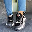 Женские черные кроссовки с вставками экокожи и экозамши 4301, фото 2