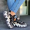 Женские черные кроссовки с вставками экокожи и экозамши 4301, фото 3