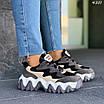 Женские черные кроссовки с вставками экокожи и экозамши 4301, фото 4
