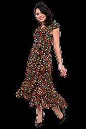 Летнее платье на запахе с асимметричной юбкой цветочный принт C5100S-2 черное