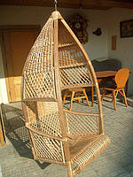 Подвисная плетеная качеля из лозы, фото 1