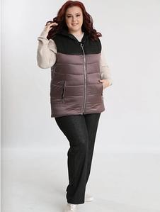 Теплый женский костюм брюки и жилетка больших размеров 54-68