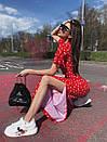 Женский летний брючный костюм в горошек с топом и брюками - кюлотами 71kos630, фото 2