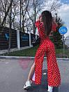 Женский летний брючный костюм в горошек с топом и брюками - кюлотами 71kos630, фото 4
