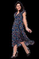 Легкое платье миди с запахом с асимметричной юбкой и цветочным принтом C5100S-3