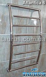 Узкий изогнутый н/ж полотенцесушитель Atlantica 6/750х400 с тупиковыми перекладинами d20