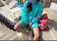 Женский костюм спортивный с шортами и свободным свитшотом 7105901