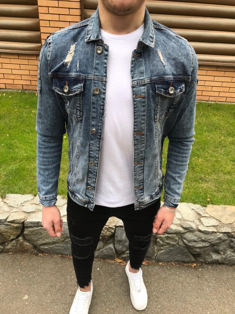 😜 Джинсовка - Мужская куртка джинсовка синяя люкс качества