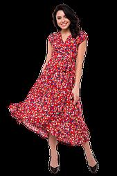 Летнее платье миди с запахом с асимметричной юбкой цветочный принт C5100S-6 красное