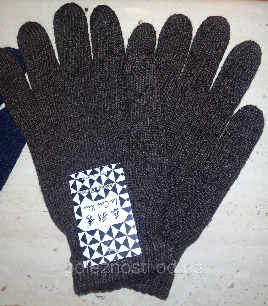 Перчатки теплые, коричневые
