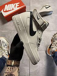 Мужские кроссовки Nike Air Force 1 High White Black Swosh (белые)