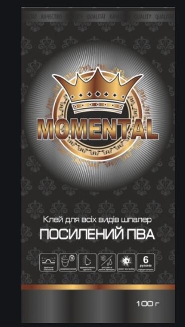 """Клей  ддя шпалер """"Momental"""" 100г посилений ПВА для всіх видів шпалер, BLACK"""