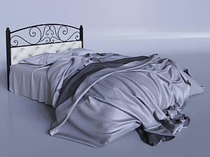 Двоспальне ліжко Астра Tenero металева 180х200 см на ніжках з м'яким узголів'ям і елементами ковки