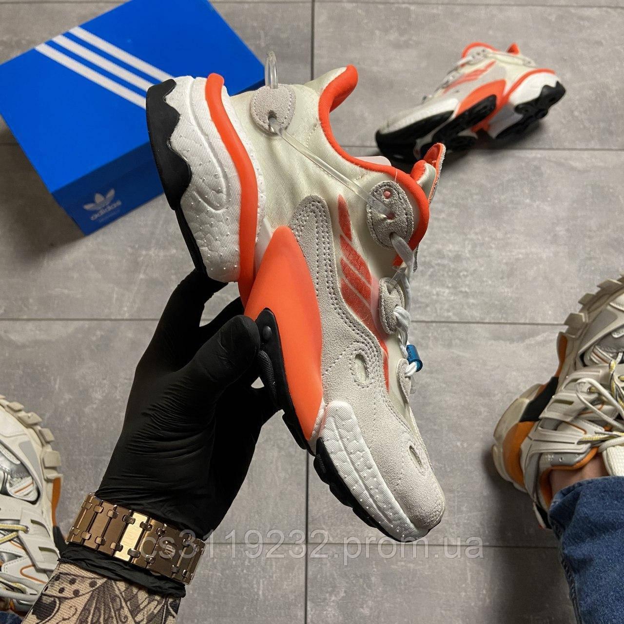 Мужские кроссовки Adidas Originals Torsion X White Grey Orange (серо-оранжевые)