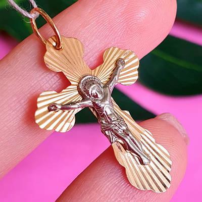 Золотий хрестик на хрестини - Хрестик із золота з розп'яттям і алмазними гранями
