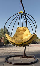 Підвісне садове крісло гойдалка кокон крапля куля плетене з ротанга Українські Конструкції Адель / Adel