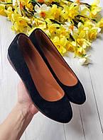 Удобные балетки туфли женские больших и маленьких размеров замшевые черные, размеры 33-42