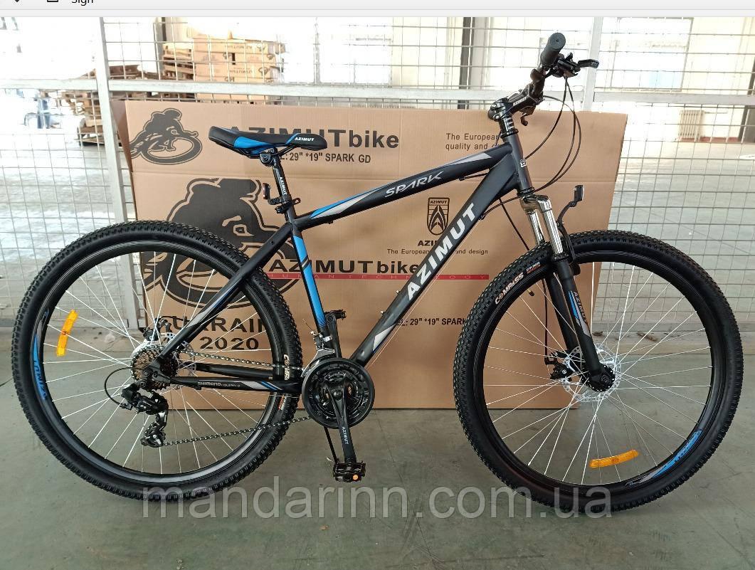 """Горный велосипед 29 дюймов Azimut Spark. Дисковые тормоза. 19"""" рама. Черно-синий"""