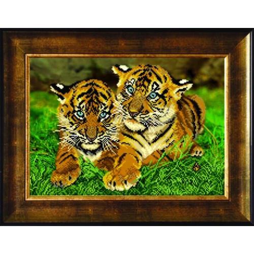 Вышивка бисером тигрят