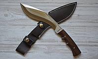 Мощный нескладной нож кукри Сокол 4, туристический и хозяйственно-бытовой инструмент, с кожаным чехлом