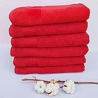 Банное полотенце махра хлопок красное Турция