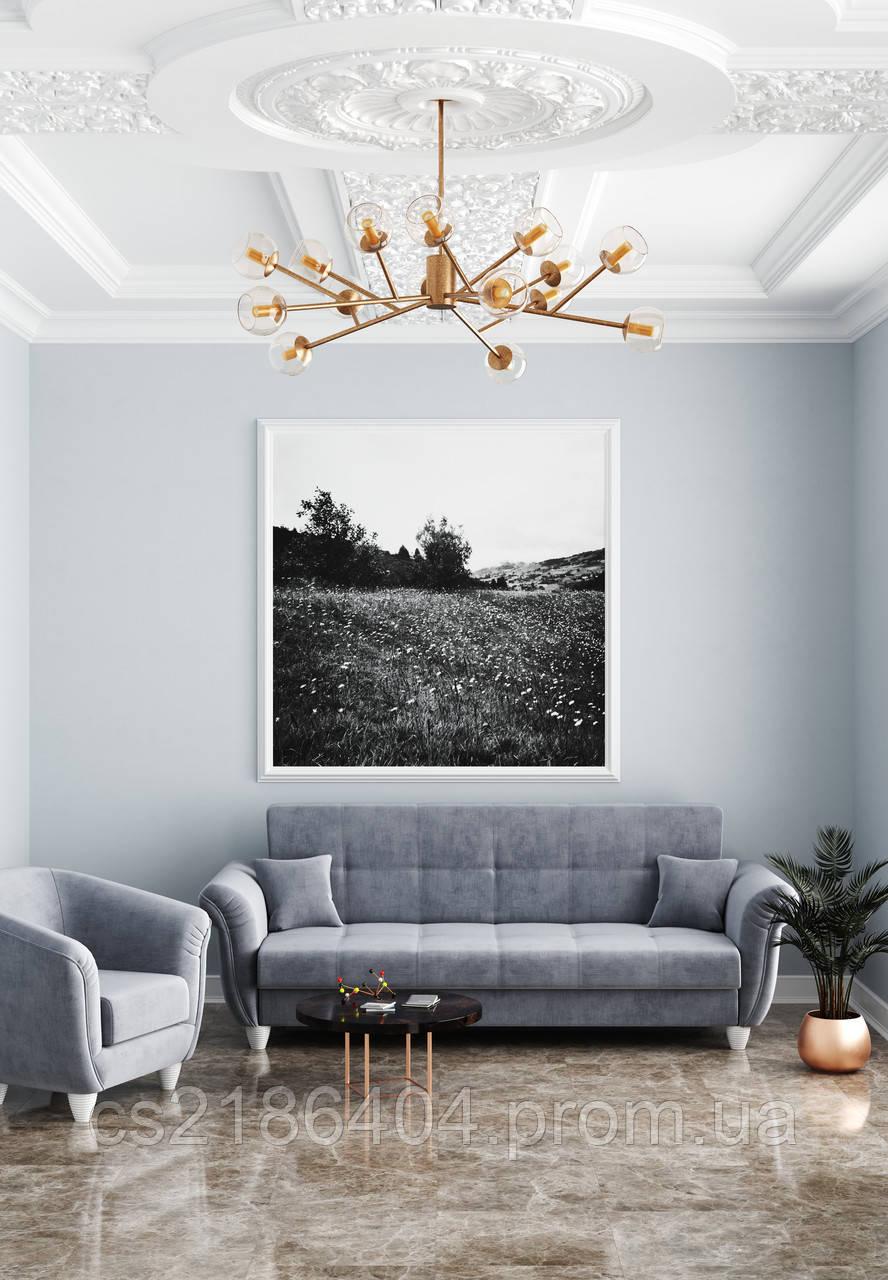 """Прямий не розкладний диван у сірій високоякісній тканині  """"Романтік"""""""