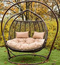 Підвісне садове крісло гойдалка кокон крапля куля плетене з ротанга Українські Конструкції Галант / Galant