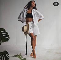 Женская льняная умягченная пижама шорты и рубаха свободного кроя. Доступно в р 40-74+ атал