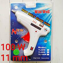 Пистолет клеевой, термопистолет для рукоделия под стержни 11 мм, 100 W. Wild Wolf Гарантия качества